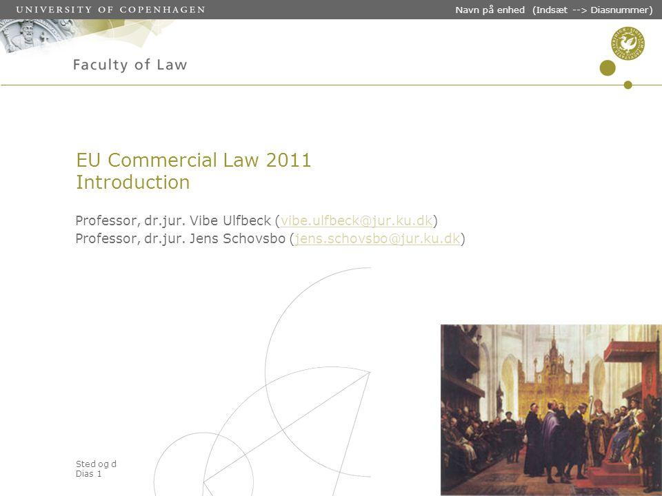 Sted og dato (Indsæt --> Diasnummer) Dias 1 Navn på enhed (Indsæt --> Diasnummer) EU Commercial Law 2011 Introduction Professor, dr.jur.