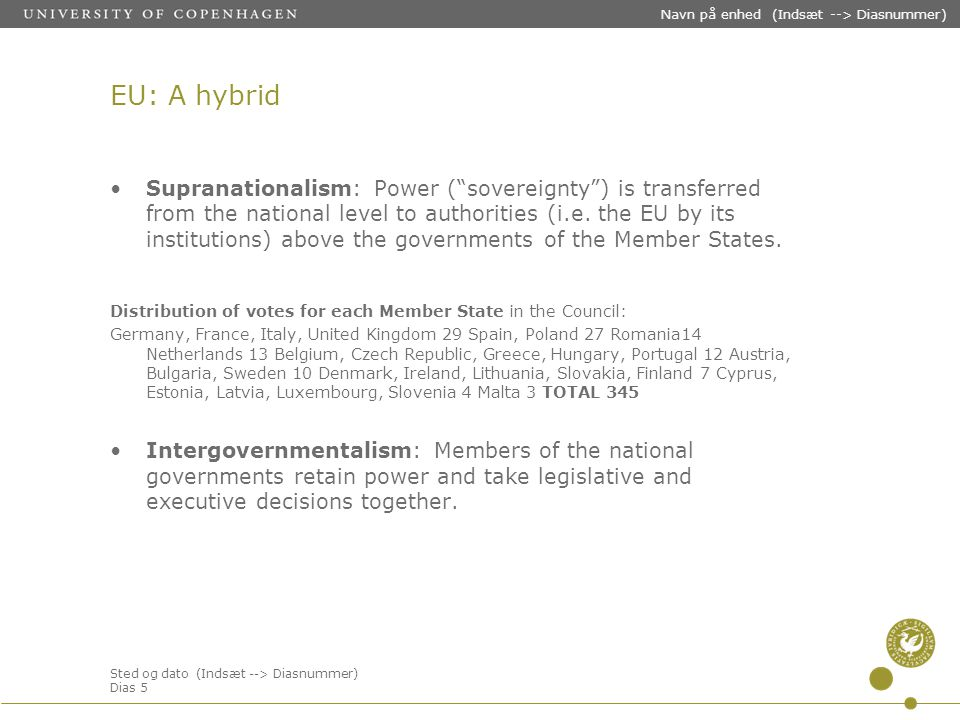 Sted og dato (Indsæt --> Diasnummer) Dias 5 Navn på enhed (Indsæt --> Diasnummer) EU: A hybrid Supranationalism: Power ( sovereignty ) is transferred from the national level to authorities (i.e.