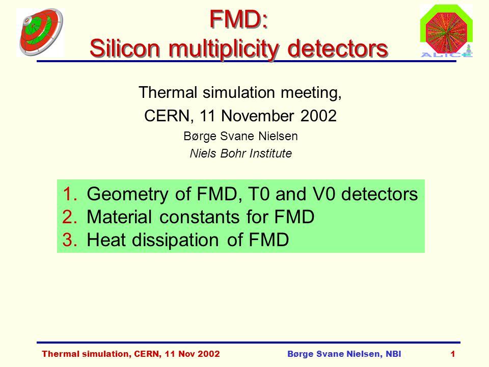 Thermal simulation, CERN, 11 Nov 2002Børge Svane Nielsen, NBI2 FWD detectors layout
