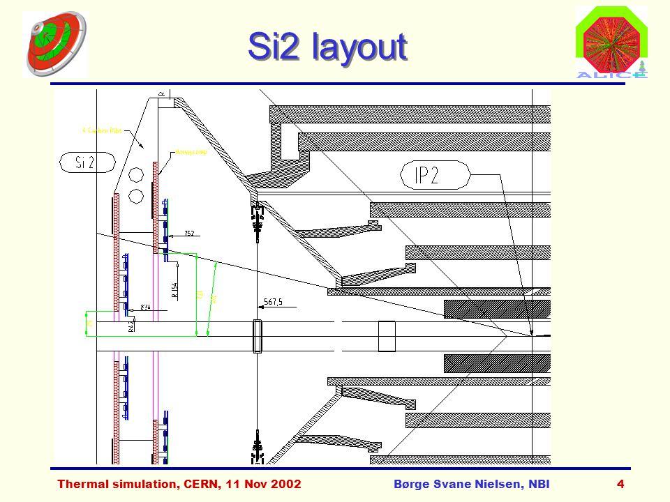 Thermal simulation, CERN, 11 Nov 2002Børge Svane Nielsen, NBI5 Si3, T0_l & V0_l layout