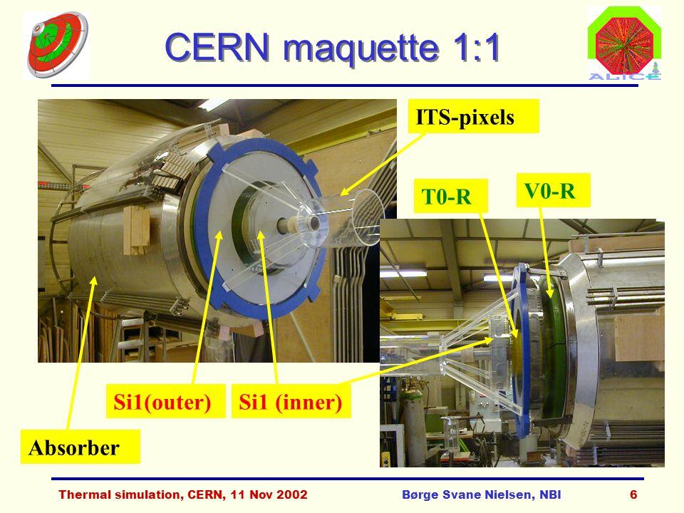 Thermal simulation, CERN, 11 Nov 2002Børge Svane Nielsen, NBI7 FMD ring layout 256 Inner: Rin=4.2 cm Rout=17.2 cm Outer: Rin=15.4 cm Rout=28.4 cm 20x2x128=5120 10x2x256=5120 128 Full FMD = 3 inner rings + 3 inner rings + 2 outer rings 2 outer rings