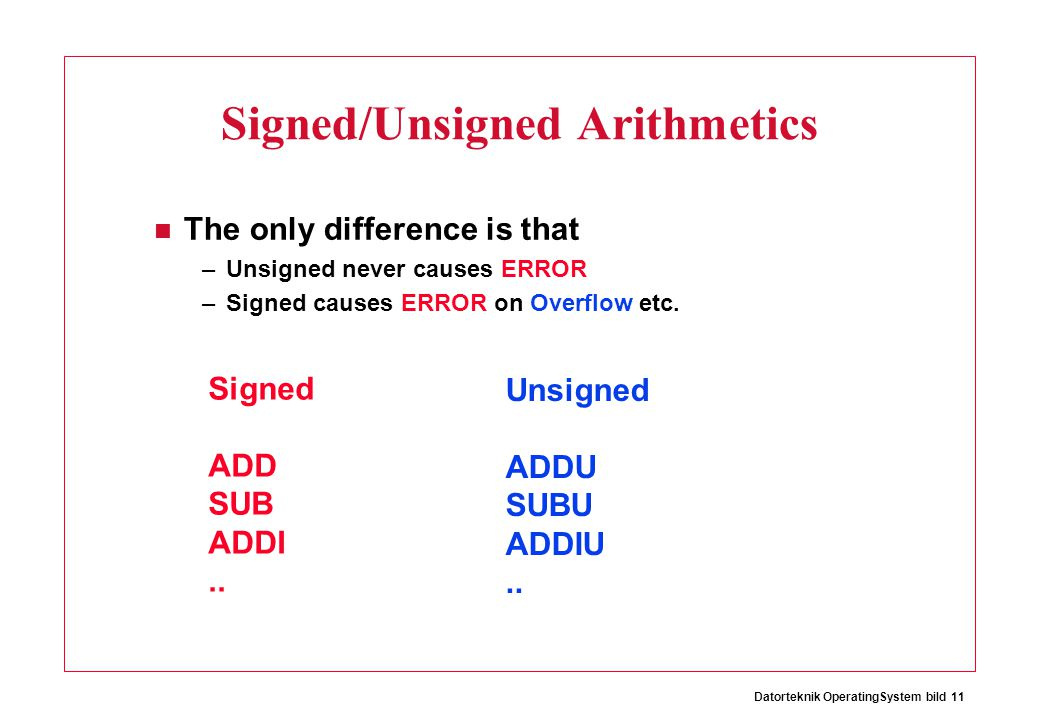 Datorteknik OperatingSystem bild 11 Signed/Unsigned Arithmetics The only difference is that –Unsigned never causes ERROR –Signed causes ERROR on Overflow etc.