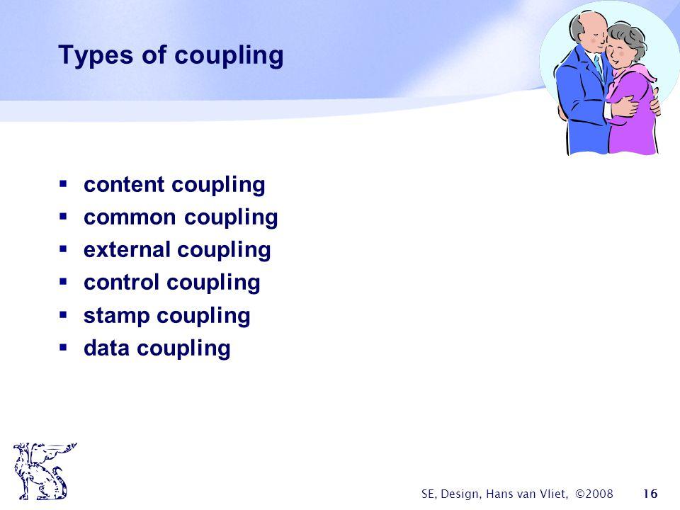 SE, Design, Hans van Vliet, ©2008 16 Types of coupling  content coupling  common coupling  external coupling  control coupling  stamp coupling  data coupling