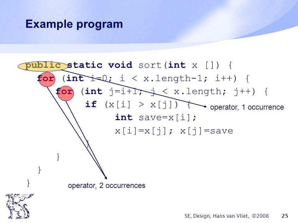 SE, Design, Hans van Vliet, ©2008 25 Example program public static void sort(int x []) { for (int i=0; i < x.length-1; i++) { for (int j=i+1; j < x.length; j++) { if (x[i] > x[j]) { int save=x[i]; x[i]=x[j]; x[j]=save } operator, 1 occurrence operator, 2 occurrences