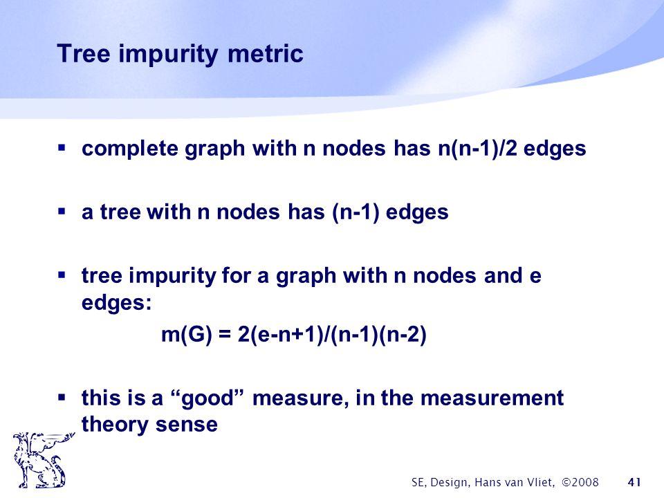 SE, Design, Hans van Vliet, ©2008 41 Tree impurity metric  complete graph with n nodes has n(n-1)/2 edges  a tree with n nodes has (n-1) edges  tree impurity for a graph with n nodes and e edges: m(G) = 2(e-n+1)/(n-1)(n-2)  this is a good measure, in the measurement theory sense