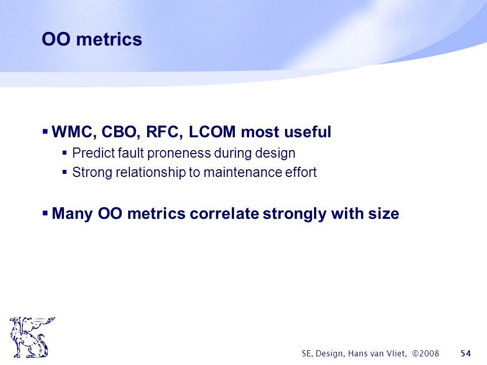 SE, Design, Hans van Vliet, ©2008 54 OO metrics  WMC, CBO, RFC, LCOM most useful  Predict fault proneness during design  Strong relationship to maintenance effort  Many OO metrics correlate strongly with size