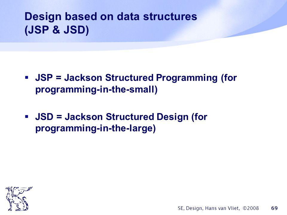 SE, Design, Hans van Vliet, ©2008 69 Design based on data structures (JSP & JSD)  JSP = Jackson Structured Programming (for programming-in-the-small)  JSD = Jackson Structured Design (for programming-in-the-large)