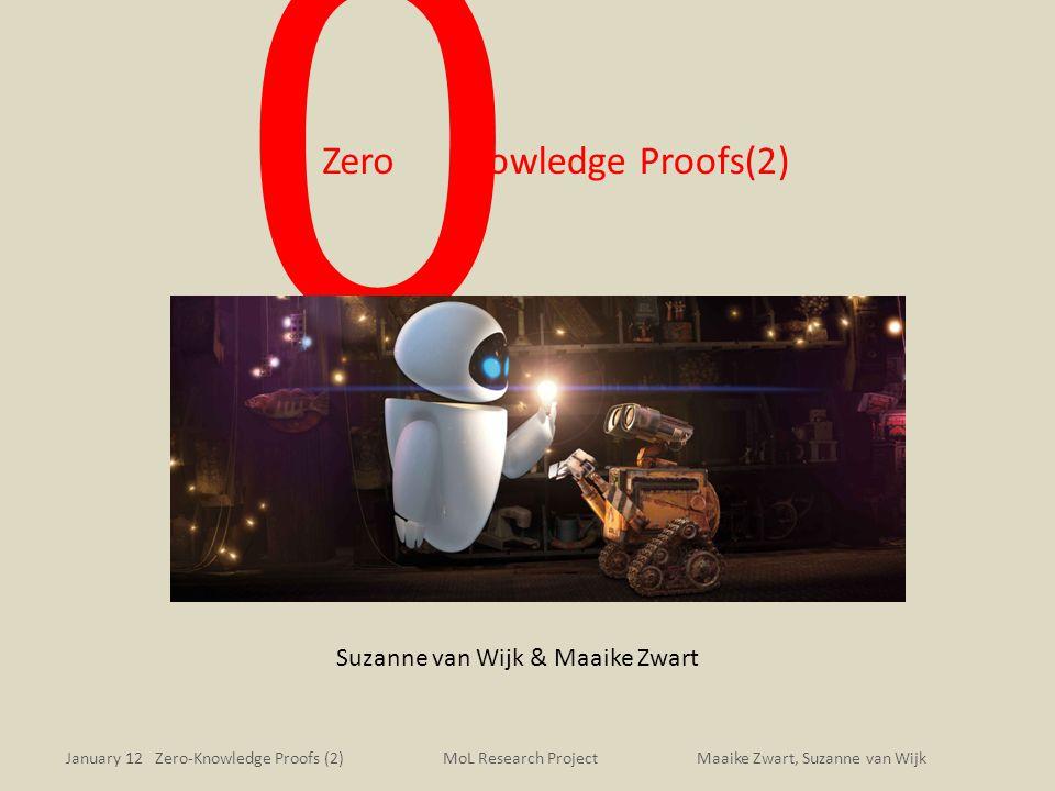 January 12 Zero-Knowledge Proofs (2)Maaike Zwart, Suzanne van WijkMoL Research Project 0 Knowledge Proofs(2) Suzanne van Wijk & Maaike Zwart Zero