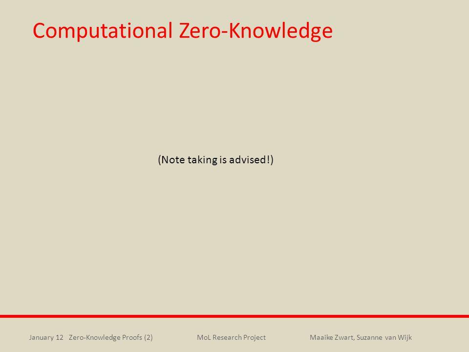 January 12 Zero-Knowledge Proofs (2)Maaike Zwart, Suzanne van WijkMoL Research Project Computational Zero-Knowledge (Note taking is advised!)