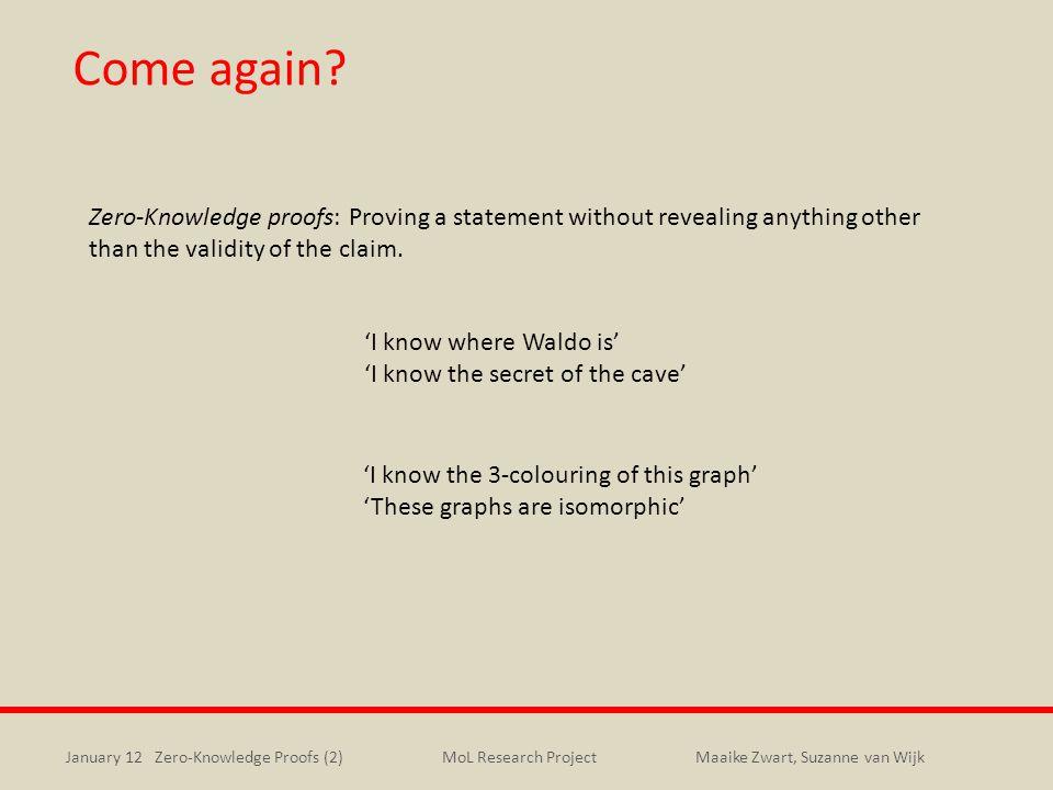 January 12 Zero-Knowledge Proofs (2)Maaike Zwart, Suzanne van WijkMoL Research Project Come again.