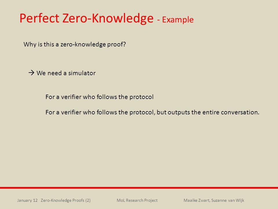 January 12 Zero-Knowledge Proofs (2)Maaike Zwart, Suzanne van WijkMoL Research Project Perfect Zero-Knowledge - Example Why is this a zero-knowledge p
