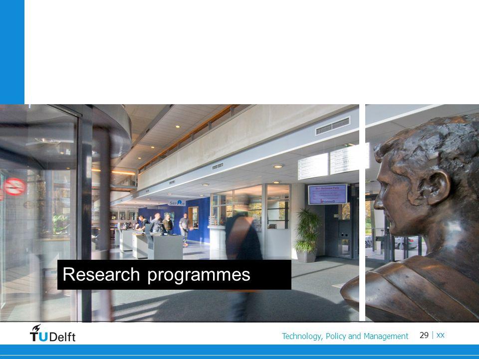 29 Titel van de presentatie | xx Research programmes Technology, Policy and Management