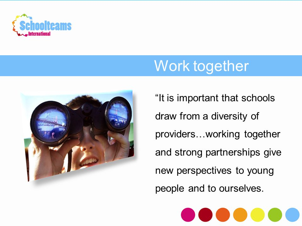 "Work together ""It is important that schools draw from a diversity of providers…working together and strong partnerships give new perspectives to young"