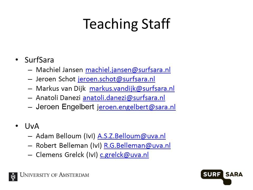 Teaching Staff SurfSara – Machiel Jansen machiel.jansen@surfsara.nlmachiel.jansen@surfsara.nl – Jeroen Schot jeroen.schot@surfsara.nljeroen.schot@surfsara.nl – Markus van Dijk markus.vandijk@surfsara.nlmarkus.vandijk@surfsara.nl – Anatoli Danezi anatoli.danezi@surfsara.nlanatoli.danezi@surfsara.nl –Jeroen Engelbert jeroen.engelbert@sara.nleroen.engelbert@sara.nl UvA – Adam Belloum (IvI) A.S.Z.Belloum@uva.nlA.S.Z.Belloum@uva.nl – Robert Belleman (IvI) R.G.Belleman@uva.nlR.G.Belleman@uva.nl – Clemens Grelck (IvI) c.grelck@uva.nlc.grelck@uva.nl