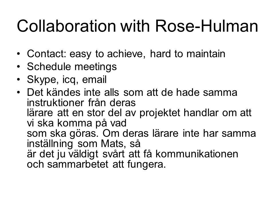 Collaboration with Rose-Hulman Contact: easy to achieve, hard to maintain Schedule meetings Skype, icq, email Det kändes inte alls som att de hade samma instruktioner från deras lärare att en stor del av projektet handlar om att vi ska komma på vad som ska göras.