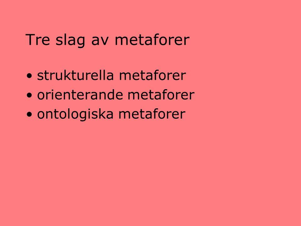 Tre slag av metaforer strukturella metaforer orienterande metaforer ontologiska metaforer