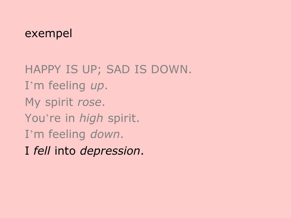 exempel HAPPY IS UP; SAD IS DOWN. I ' m feeling up.