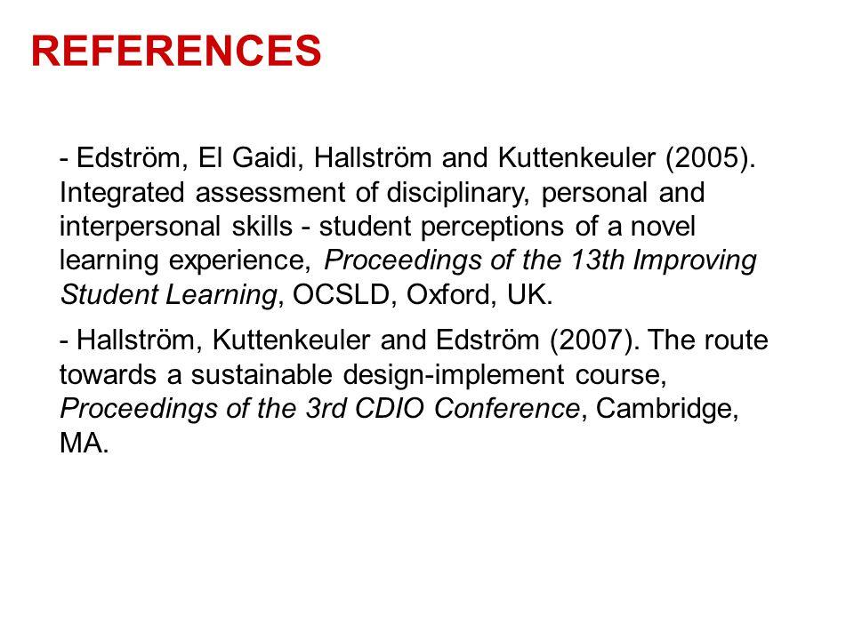 REFERENCES - Edström, El Gaidi, Hallström and Kuttenkeuler (2005).