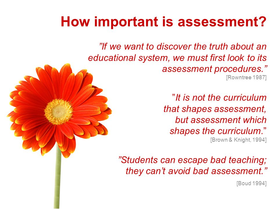 How important is assessment.