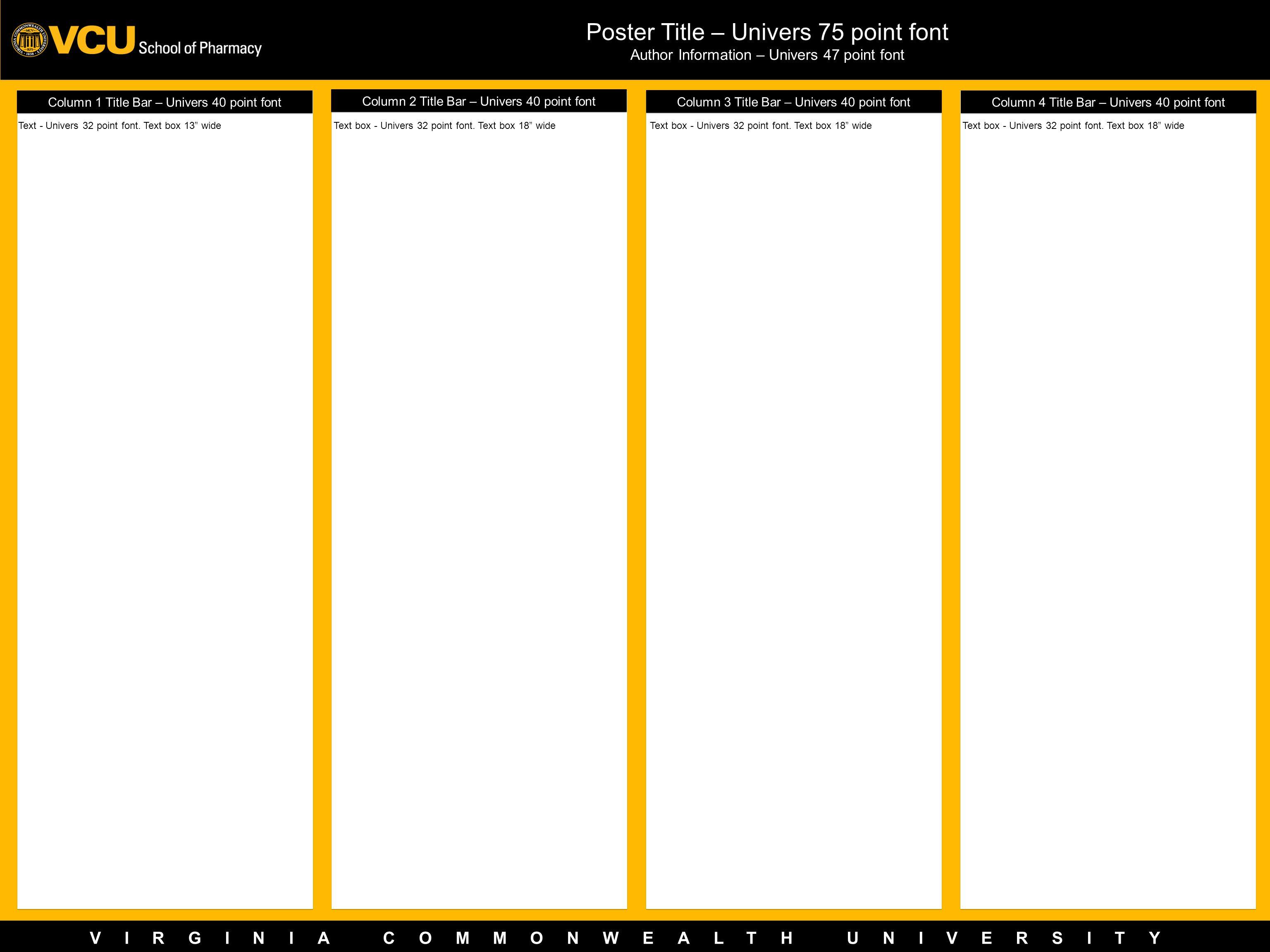 VIRGINIA COMMONWEALTH UNIVERSITY Column 1 Title Bar – Univers 40 point font Poster Title – Univers 75 point font Author Information – Univers 47 point
