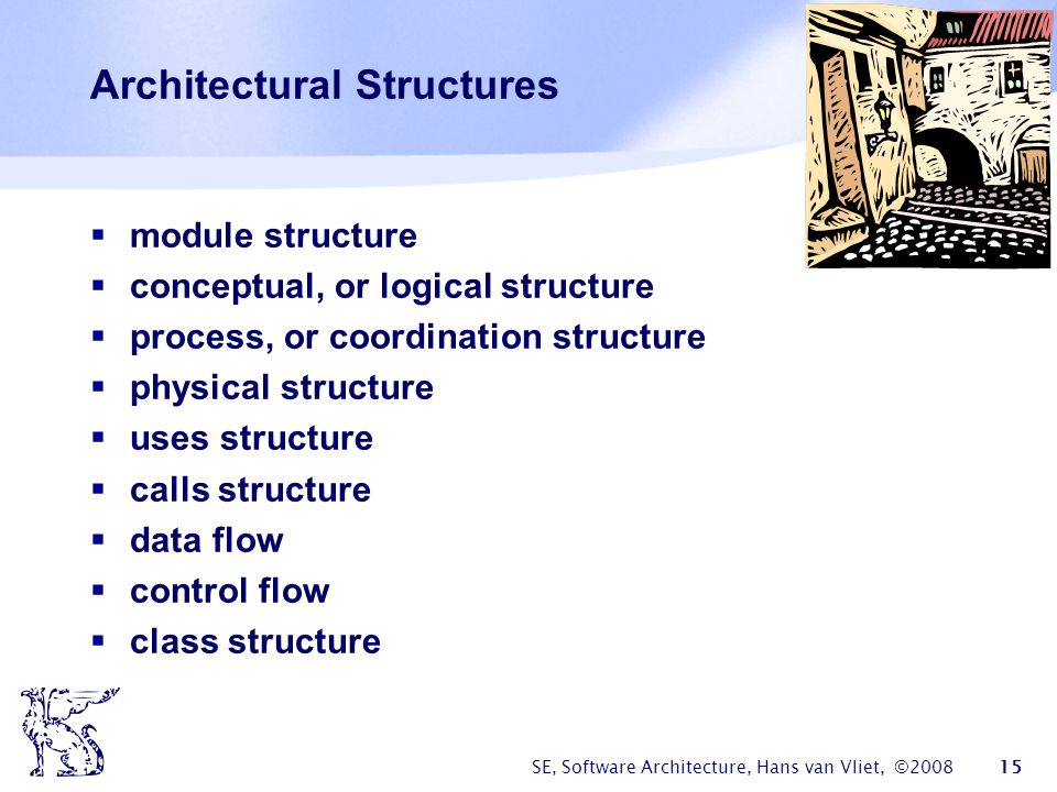 SE, Software Architecture, Hans van Vliet, ©2008 15 Architectural Structures  module structure  conceptual, or logical structure  process, or coord