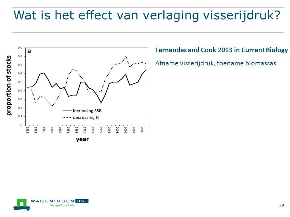 Wat is het effect van verlaging visserijdruk? 29 Fernandes and Cook 2013 in Current Biology Afname visserijdruk, toename biomassas