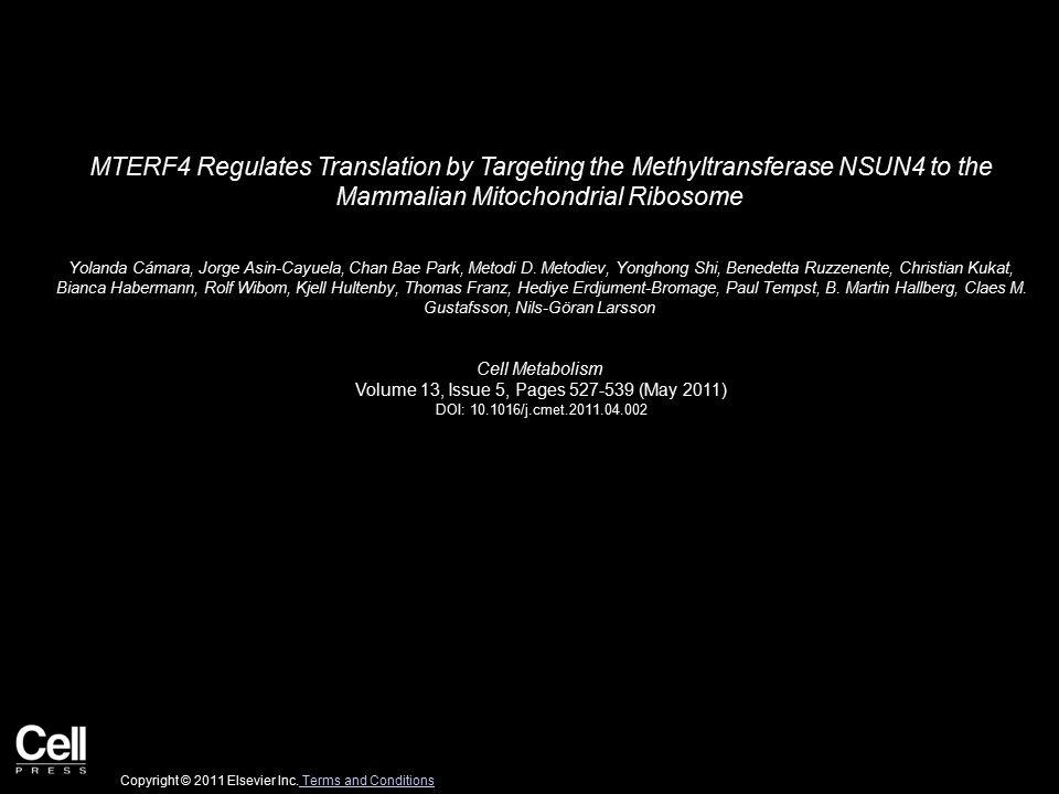 MTERF4 Regulates Translation by Targeting the Methyltransferase NSUN4 to the Mammalian Mitochondrial Ribosome Yolanda Cámara, Jorge Asin-Cayuela, Chan Bae Park, Metodi D.