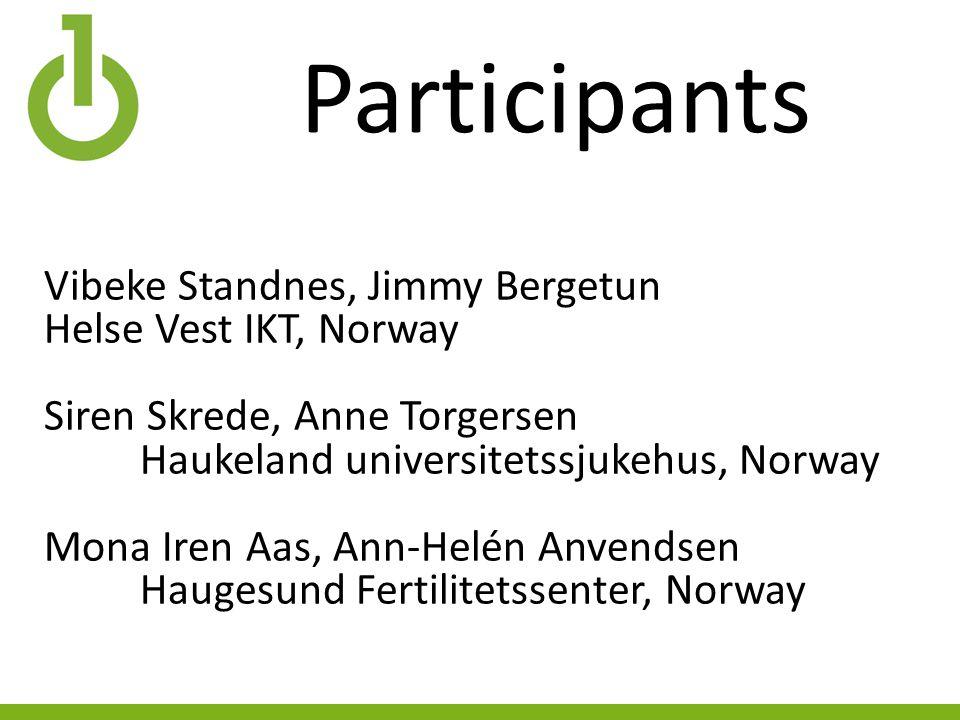 Participants Vibeke Standnes, Jimmy Bergetun Helse Vest IKT, Norway Siren Skrede, Anne Torgersen Haukeland universitetssjukehus, Norway Mona Iren Aas,