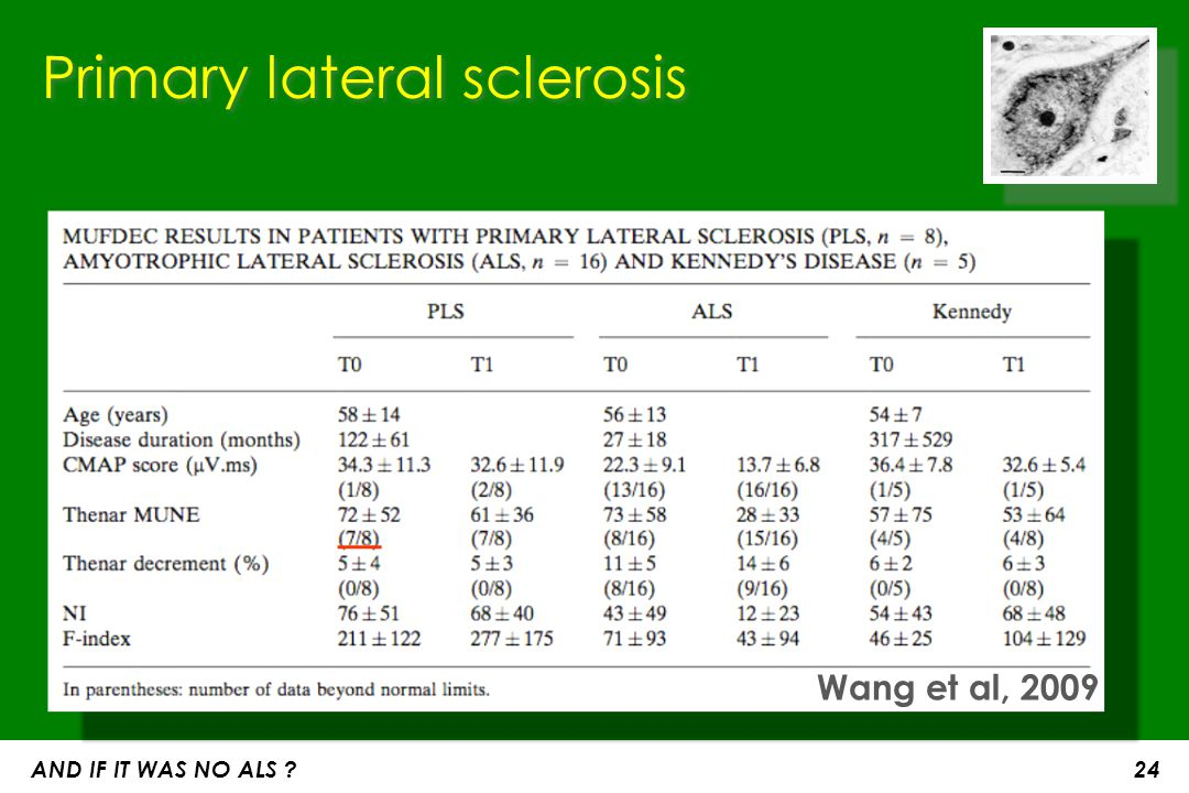 Primary lateral sclerosis Wang et al, 2009 AND IF IT WAS NO ALS ? 24