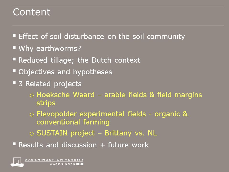 Content  Effect of soil disturbance on the soil community  Why earthworms.