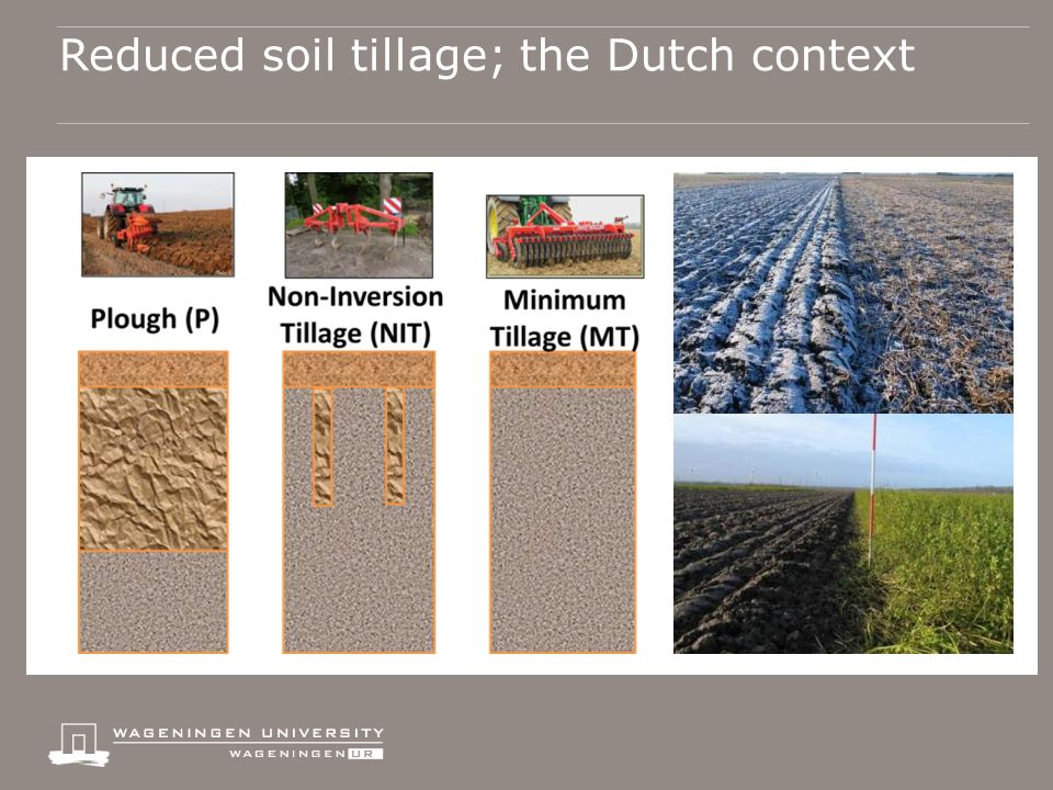 All with controlled traffic lanes Reduced soil tillage; the Dutch context  99% of arable land in NL is regularly moldboard ploughed  Farmers in NL have a growing interest in reduced tillage  No-till is not practiced  non-inversion tillage