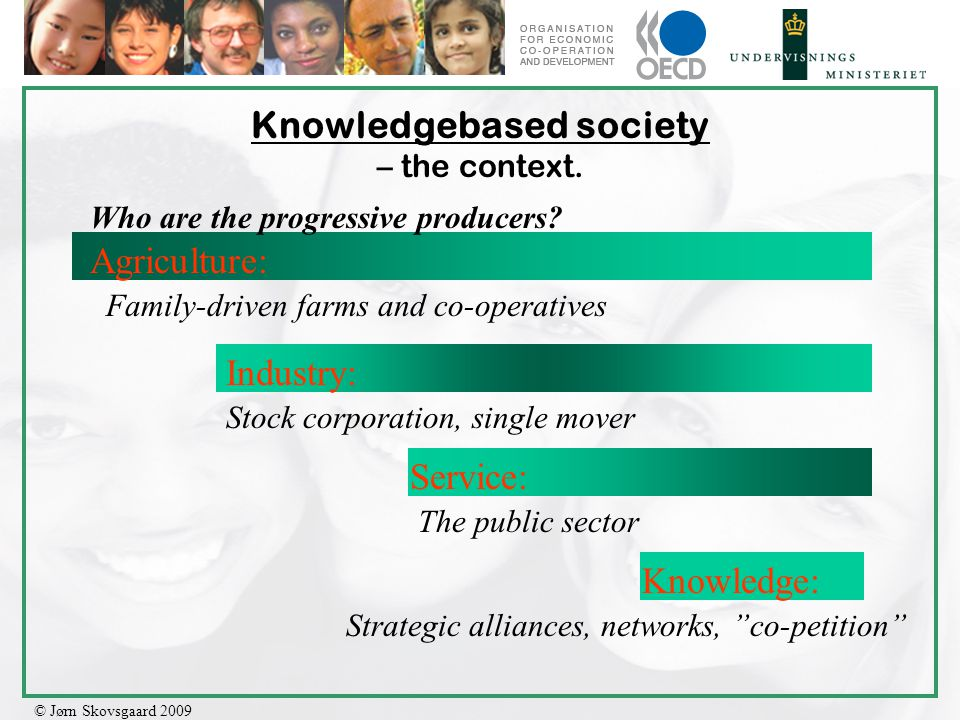 © Jørn Skovsgaard 2009 Knowledgebased society – the context. Agriculture: Industry: Service: Knowledge: Who are the progressive producers? Family-driv