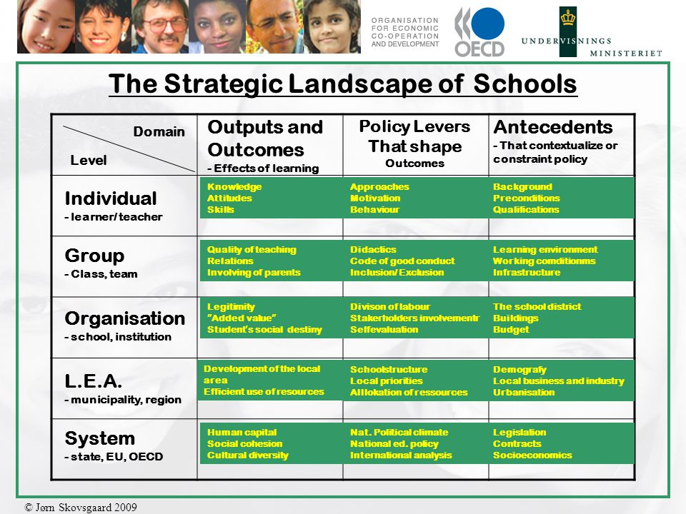 © Jørn Skovsgaard 2009 The Strategic Landscape of Schools Domain Level Individual - learner/ teacher Group - Class, team Organisation - school, institution L.E.A.