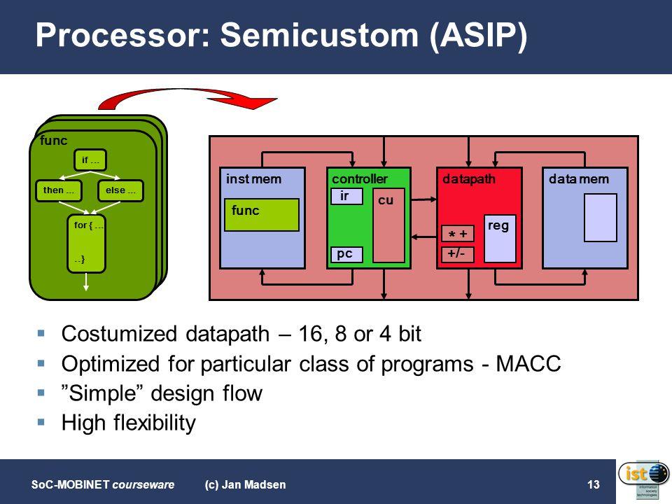 SoC-MOBINET courseware(c) Jan Madsen13 Processor: Semicustom (ASIP)  Costumized datapath – 16, 8 or 4 bit  Optimized for particular class of program