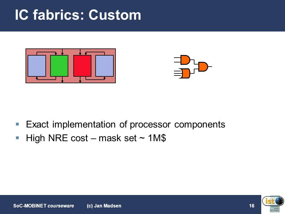 SoC-MOBINET courseware(c) Jan Madsen16 IC fabrics: Custom  Exact implementation of processor components  High NRE cost – mask set ~ 1M$