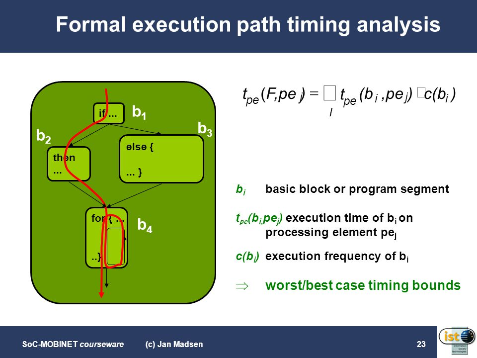 SoC-MOBINET courseware(c) Jan Madsen23 Formal execution path timing analysis then... else {... } for {.....} if... b1b1 b3b3 b4b4 b2b2 b i basic block