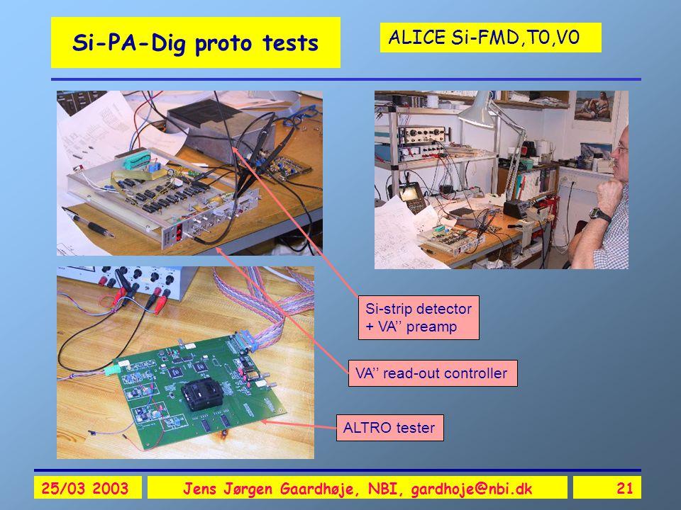 ALICE Si-FMD,T0,V0 25/03 2003Jens Jørgen Gaardhøje, NBI, gardhoje@nbi.dk21 Si-PA-Dig proto tests ALTRO tester Si-strip detector + VA'' preamp VA'' read-out controller