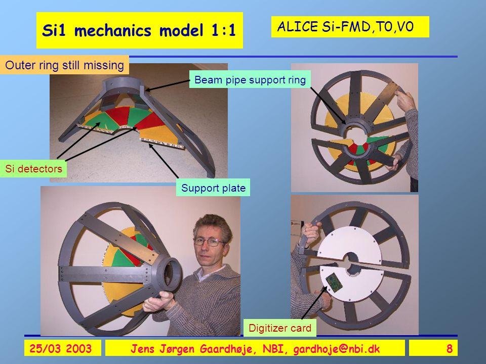 ALICE Si-FMD,T0,V0 25/03 2003Jens Jørgen Gaardhøje, NBI, gardhoje@nbi.dk8 Si1 mechanics model 1:1 Si detectors Support plate Digitizer card Beam pipe support ring Outer ring still missing