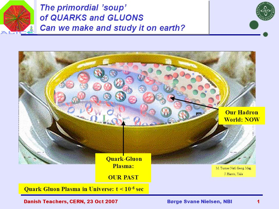 Danish Teachers, CERN, 23 Oct 2007Børge Svane Nielsen, NBI1 The primordial 'soup' of QUARKS and GLUONS Can we make and study it on earth.