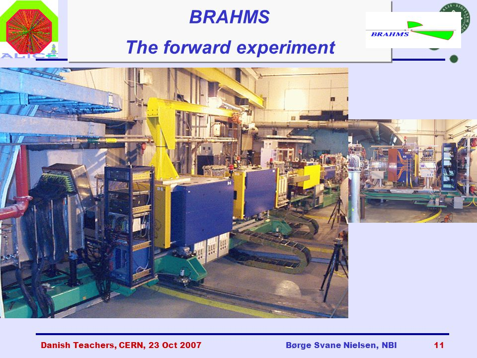 Danish Teachers, CERN, 23 Oct 2007Børge Svane Nielsen, NBI11 BRAHMS The forward experiment