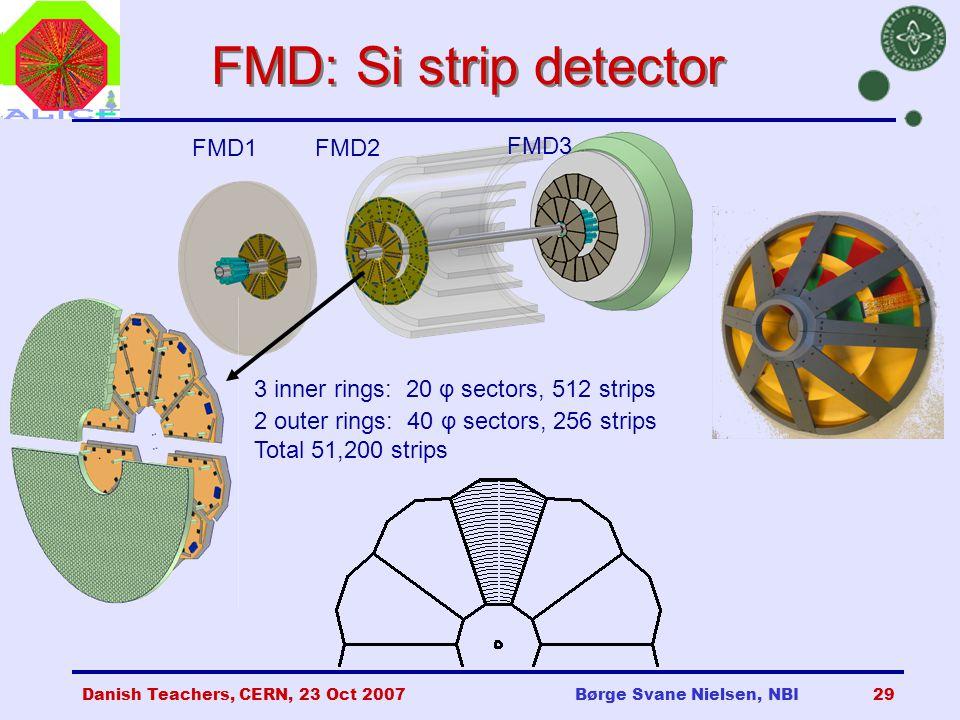 Danish Teachers, CERN, 23 Oct 2007Børge Svane Nielsen, NBI29 FMD: Si strip detector FMD3 FMD1FMD2 3 inner rings: 20 φ sectors, 512 strips 2 outer rings: 40 φ sectors, 256 strips Total 51,200 strips