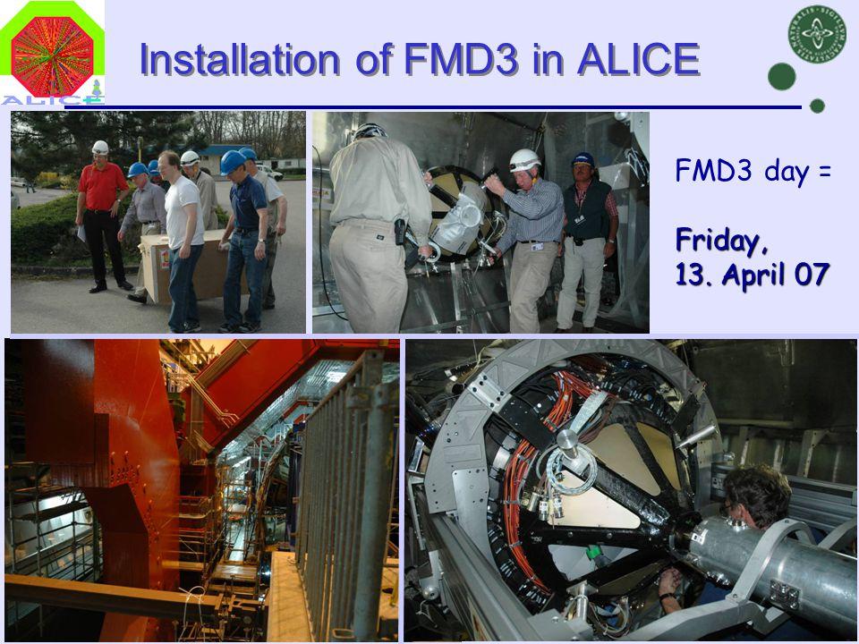 Danish Teachers, CERN, 23 Oct 2007Børge Svane Nielsen, NBI38 Installation of FMD3 in ALICE FMD3 day =Friday, 13.