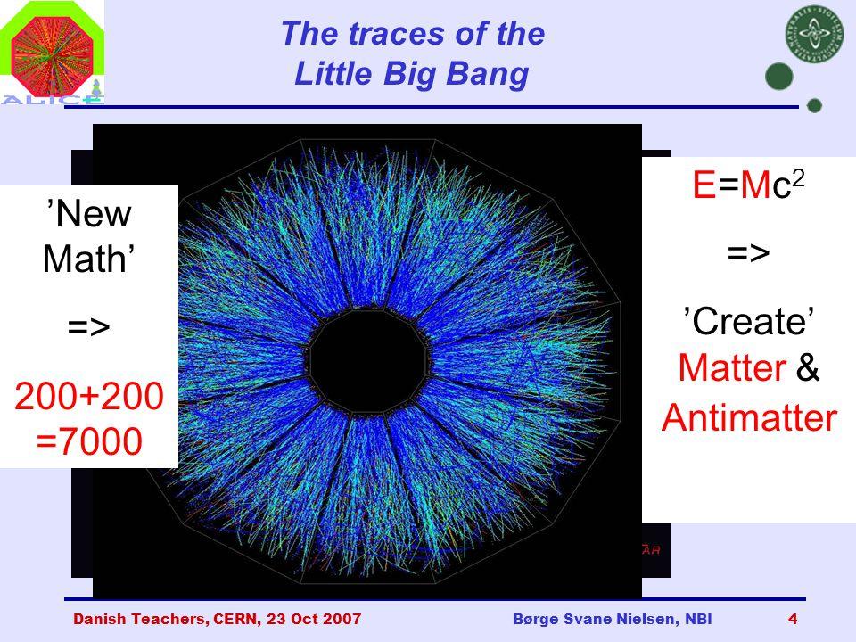 Danish Teachers, CERN, 23 Oct 2007Børge Svane Nielsen, NBI4 The traces of the Little Big Bang E=Mc 2 => 'Create' Matter & Antimatter 'New Math' => 200+200 =7000