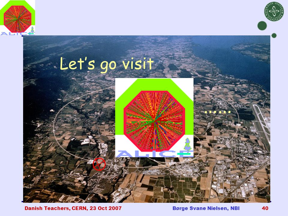Danish Teachers, CERN, 23 Oct 2007Børge Svane Nielsen, NBI40 Let's go visit ALICE ……