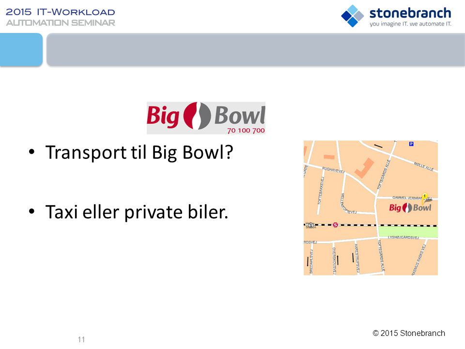 © 2015 Stonebranch er Transport til Big Bowl? Taxi eller private biler. 11