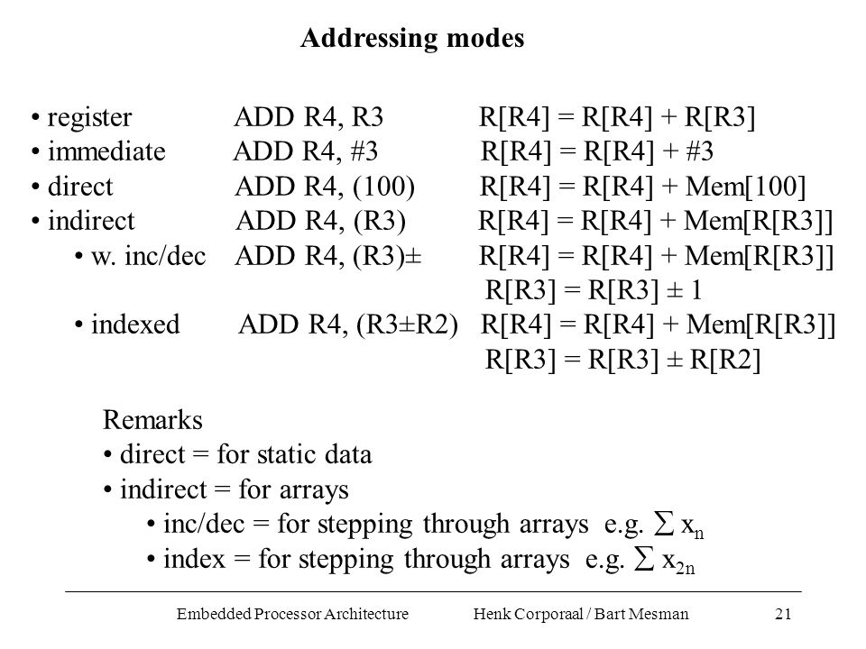 Embedded Processor Architecture Henk Corporaal / Bart Mesman21 Addressing modes register ADD R4, R3 R[R4] = R[R4] + R[R3] immediate ADD R4, #3 R[R4] = R[R4] + #3 direct ADD R4, (100) R[R4] = R[R4] + Mem[100] indirect ADD R4, (R3) R[R4] = R[R4] + Mem[R[R3]] w.