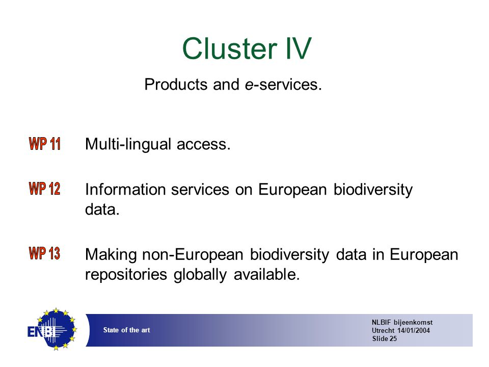 NLBIF bijeenkomst Utrecht 14/01/2004 Slide 25 State of the art Cluster IV Multi-lingual access.