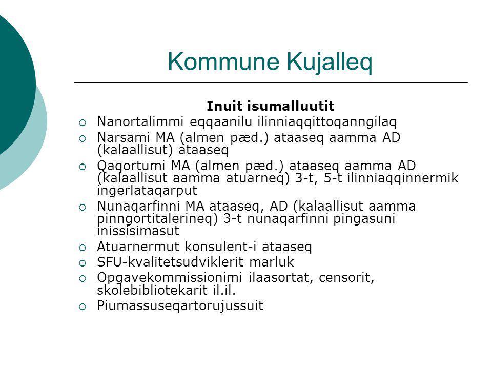 Kommune Kujalleq Inuit isumalluutit  Nanortalimmi eqqaanilu ilinniaqqittoqanngilaq  Narsami MA (almen pæd.) ataaseq aamma AD (kalaallisut) ataaseq  Qaqortumi MA (almen pæd.) ataaseq aamma AD (kalaallisut aamma atuarneq) 3-t, 5-t ilinniaqqinnermik ingerlataqarput  Nunaqarfinni MA ataaseq, AD (kalaallisut aamma pinngortitalerineq) 3-t nunaqarfinni pingasuni inissisimasut  Atuarnermut konsulent-i ataaseq  SFU-kvalitetsudviklerit marluk  Opgavekommissionimi ilaasortat, censorit, skolebibliotekarit il.il.