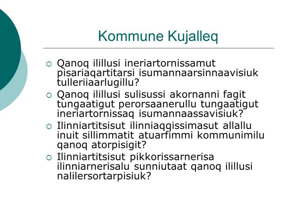 Kommune Kujalleq  Qanoq ilillusi ineriartornissamut pisariaqartitarsi isumannaarsinnaavisiuk tulleriiaarlugillu.