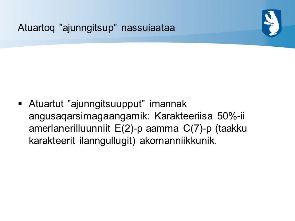 Atuartoq ajunngitsup nassuiaataa  Atuartut ajunngitsuupput imannak angusaqarsimagaangamik: Karakteeriisa 50%-ii amerlanerilluunniit E(2)-p aamma C(7)-p (taakku karakteerit ilanngullugit) akornanniikkunik.